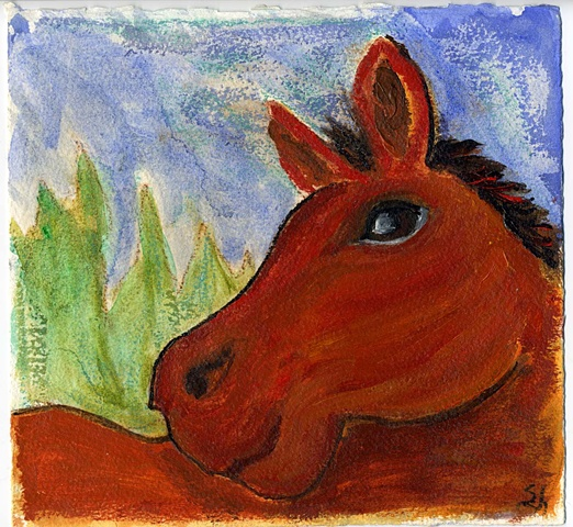 Whimsical portrait of a horse with blue sky