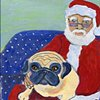 Santa and Pug on a dotted couch