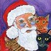 Santa with three cats