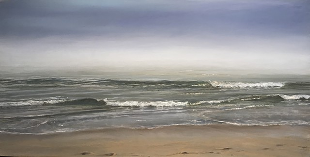The fog often lies on the water in the morning on the Outer Banks.  This painting is available through the Seaside Art Gallery in Nags Head, NC