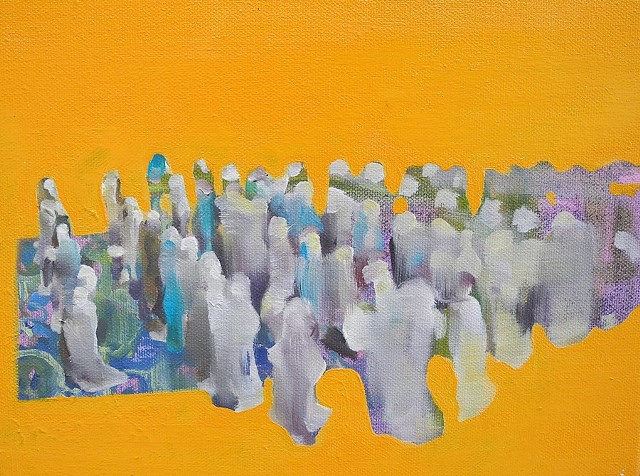 Oil on canvas, Israel, Palestine, women in prayer, union, ritual, Islam, Abstract Painting, travel archives, contemporary painting by Ashley Wertheimer