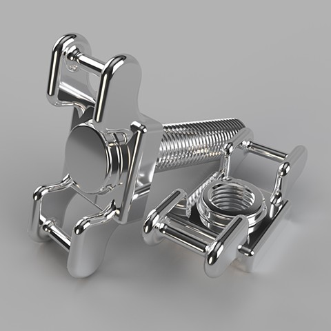 Alternate/Parallel Fastener #22, Chrome Version :: Computer rendering