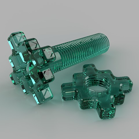Alternate/Parallel Fastener #4, Green Plastic Version :: Computer rendering