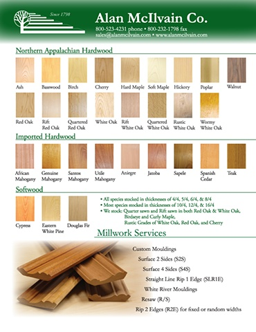 Hardwood Lumber Species Chart (Promotional Flyer)
