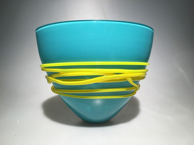 Turquoise Fan Bowl with Canary Yellow wrap