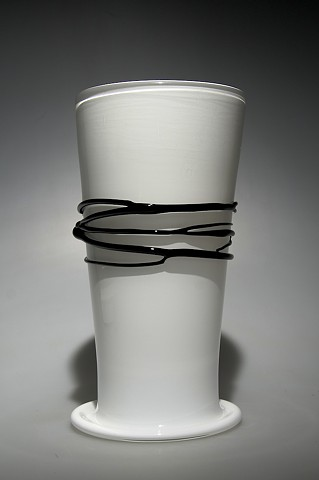 White Cylinder Vase with Black wrap