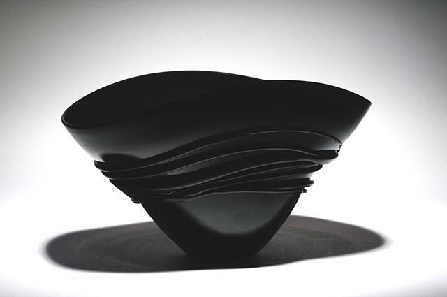 Black Fan Bowl with black wrap