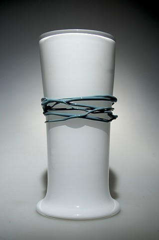White Cylinder Vase with Opal Blue/Grey wrap
