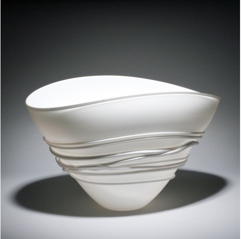 White Fan Bowl with white wrap