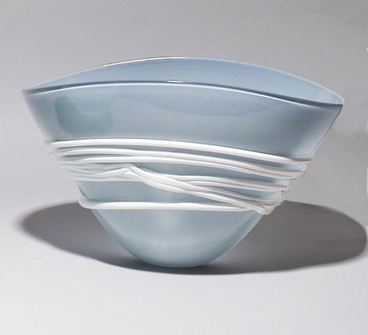 Opal Blue/Grey Fan Bowl with white wrap