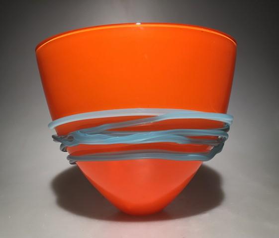 Orange Fan Bowl with Baby Blue wrap