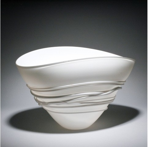 White Fan Bowl with white wrap (Sandblasted Finish)