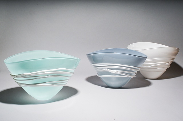 Celadon, Opal Blue/Grey, and White Fan Bowls with white wrap
