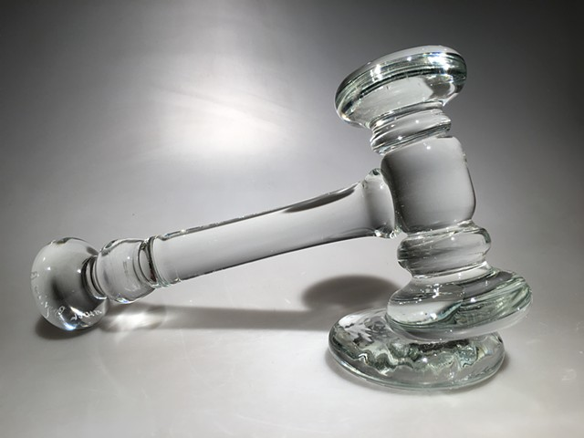 Clear Hot Sculpted Glass Gavel with stand
