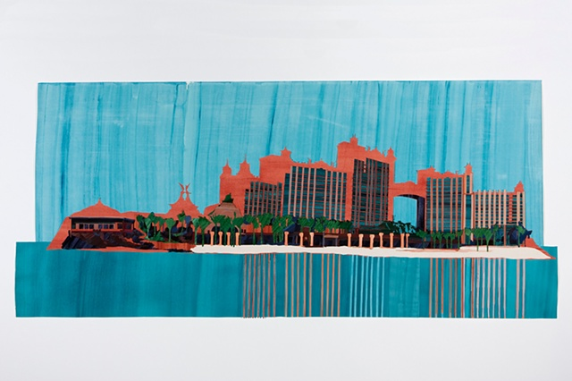 Hotels, collage painting