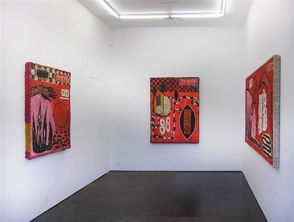 Installation view of Britta Deardorff: Red Liar Paintings