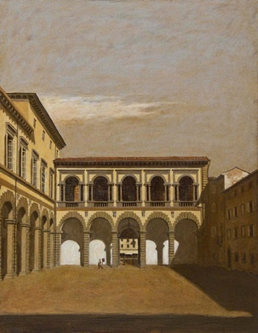 oil painting, italy, lucca, italian architecture