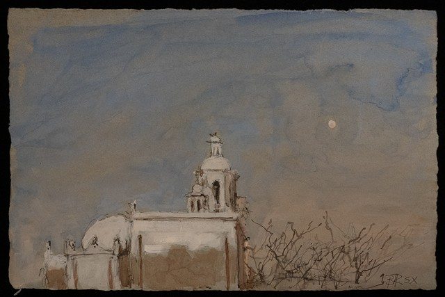 San Xavier with Moon