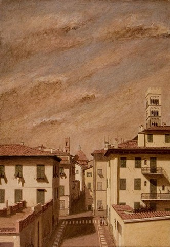 painting by Brian H Reynolds art Lucca le mura plein air Italy