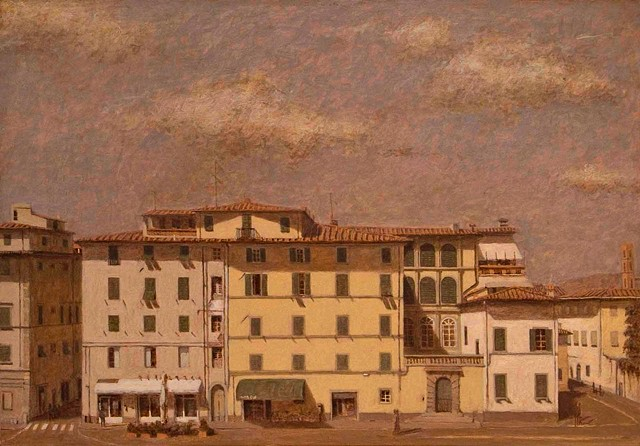 painting by brian h reynolds Lucca le mura plein air landscape art