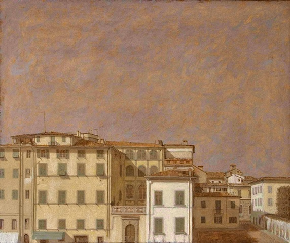 painting Lucca le mura plein aire Italy