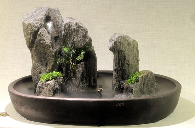island group fountain with fogger, boat, and dwarf plants