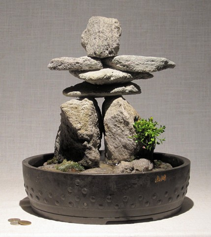 miniature innunguaq fountain of feather rock with centaurium