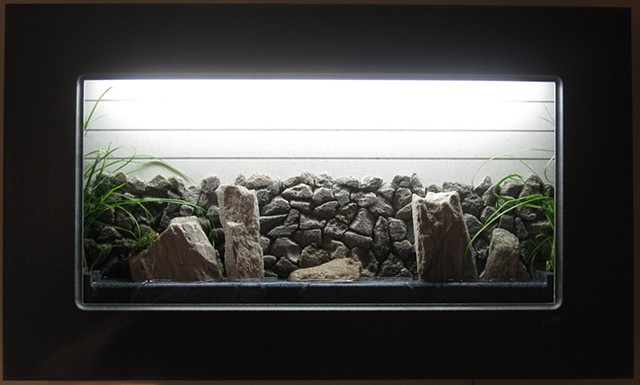 wall fountain with feather rock wall, live plants, and Corian frame