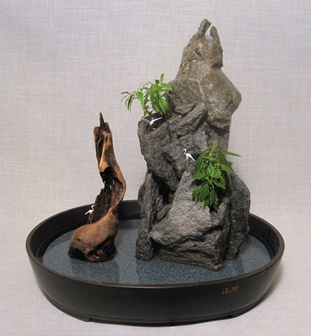 rock fountain with ivy and driftwood