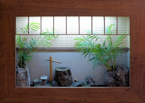 Shadowbox wall fountain with Japanese tea garden design