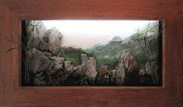 shadowbox mountain landscape with fountain and plants