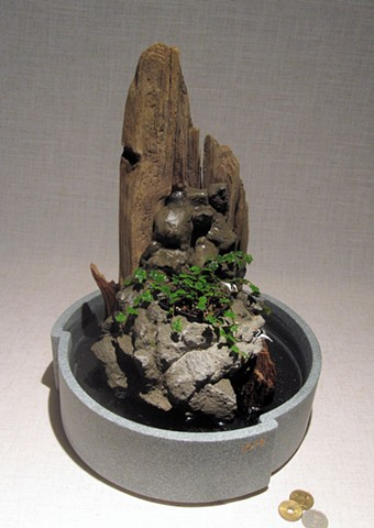 miniature cairn fountain with corian tray and plant
