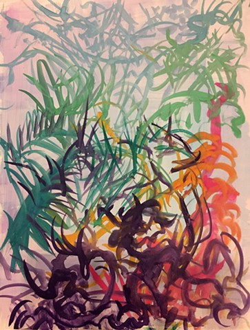 colorful abstract expressionism of palm trees in a tropical landscape