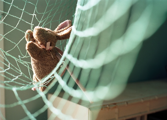A stuffed brown bunny with a pink bow is hanging in green fishnet photographed by lucy mueller