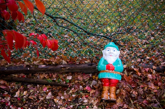 A red, white and blue Christmas Elf lie on the ground near a colorful fall burning bush photographed by Lucy Mueller