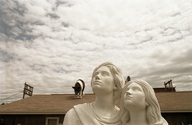 Photograph of a concrete lawn statue couple looking into the sky with a pig on the roof behind them photographed in South Dakota by Lucy Mueller