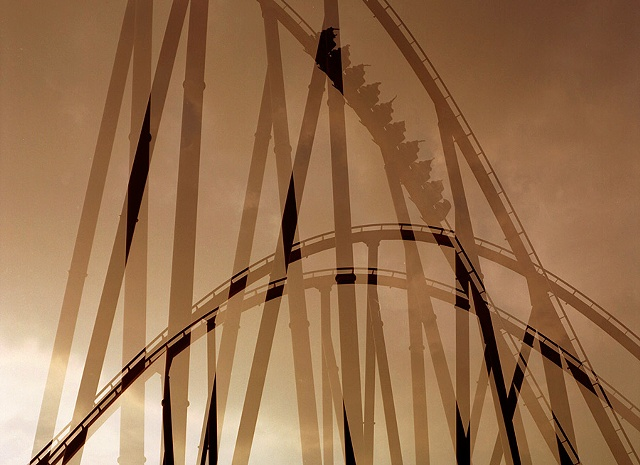 Double in camera exposure of a roller coaster silhouette at Great America photographed by lucy mueller