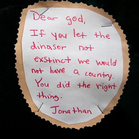 "Young pupils wishes written as ""dear god"" letters posted at a church by lucy mueller"