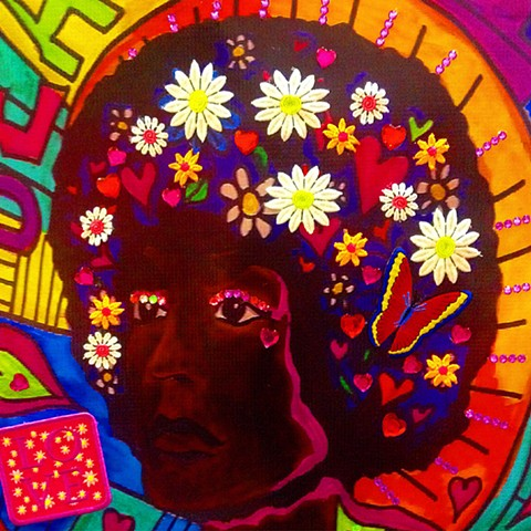 Revolution is Beautiful (Angela Davis) Detail of Embellished Banner
