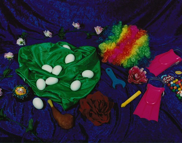 """Still Life with Rainbow Wig and Plastic Chicken Leg"""
