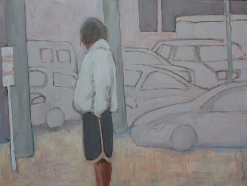figure with cars acrylic painting