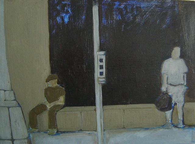 acrylic painting of figures at bus stop
