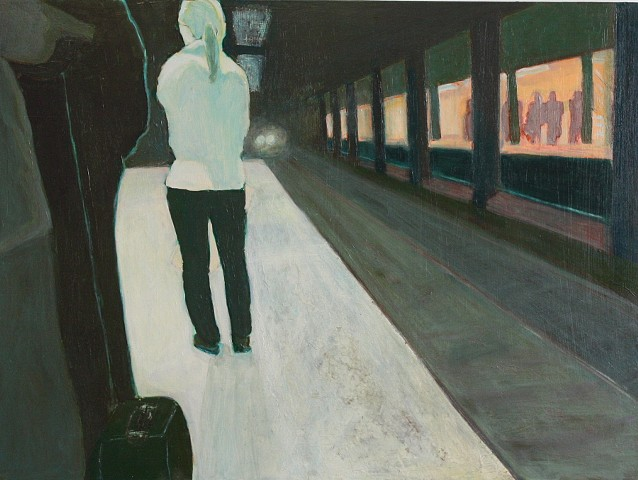 woman on subway platform acrylic painting