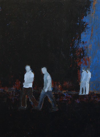 men on street acrylic painting