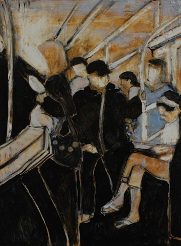 Figures on mass transit acrylic painting