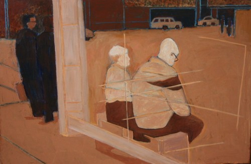 figures in bus shelter new york acrylic painting