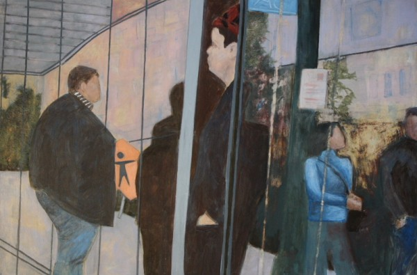 figures reflected in window acrylic painting