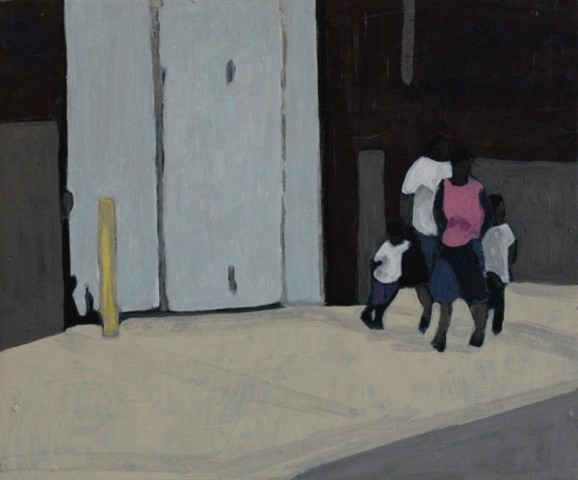 family on city street acrylic painting