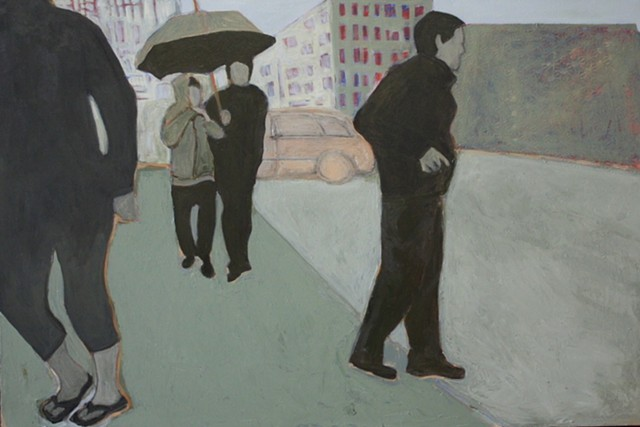 acrylic figurative painting figures in the rain