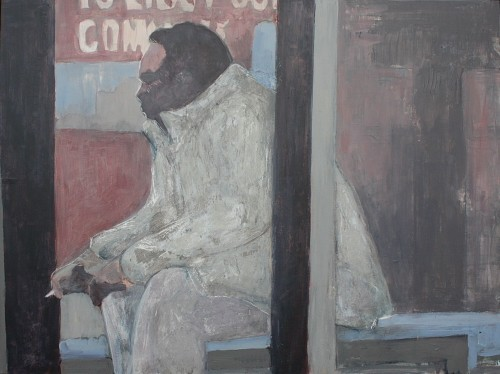man in bus shelter smoking acrylic painting